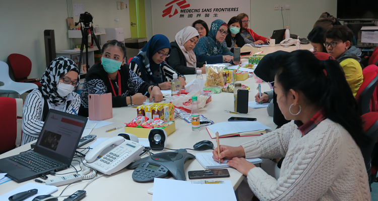 "MSF health promotion team in Hong Kong has conducted ""training of trainers"" session for the Filipinos and Indonesian domestic workers. The domestic workers had learnt the knowledge of the COVID-19, prevention measures and simple coping mechanisms as part of psychological first aid. © MSF"